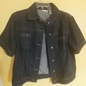 CHICO'S PLATINUM Denim Bling Jacket Top 3 (XL)